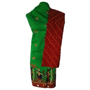 green and red dress material with panihari woman print at bottom