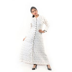 Buttoned Top Ikhat Weaving Multicolor Kurti